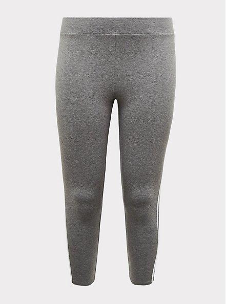 Crop Premium Legging - Side Stripe Heather Grey, DOUBLE STRIPE, hi-res