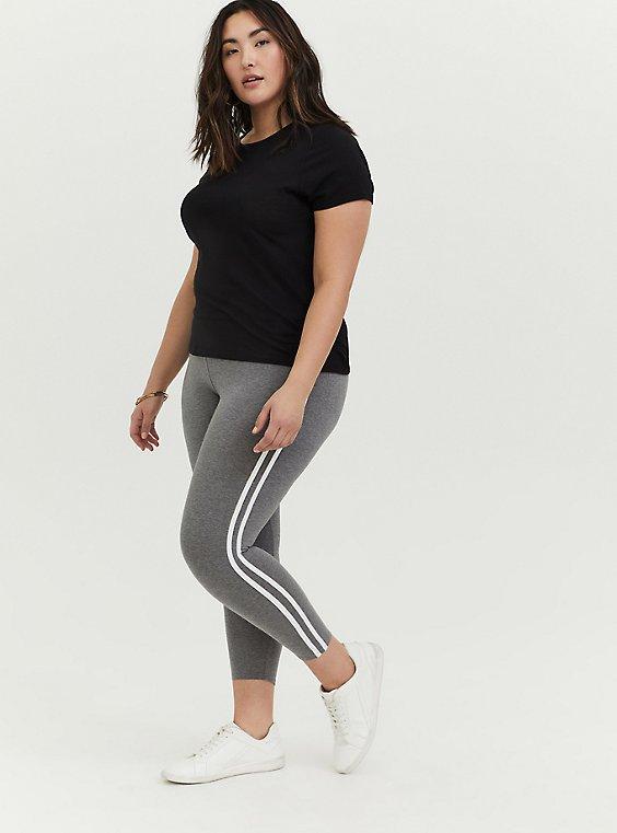 Crop Premium Legging - Side Stripe Heather Grey, , hi-res