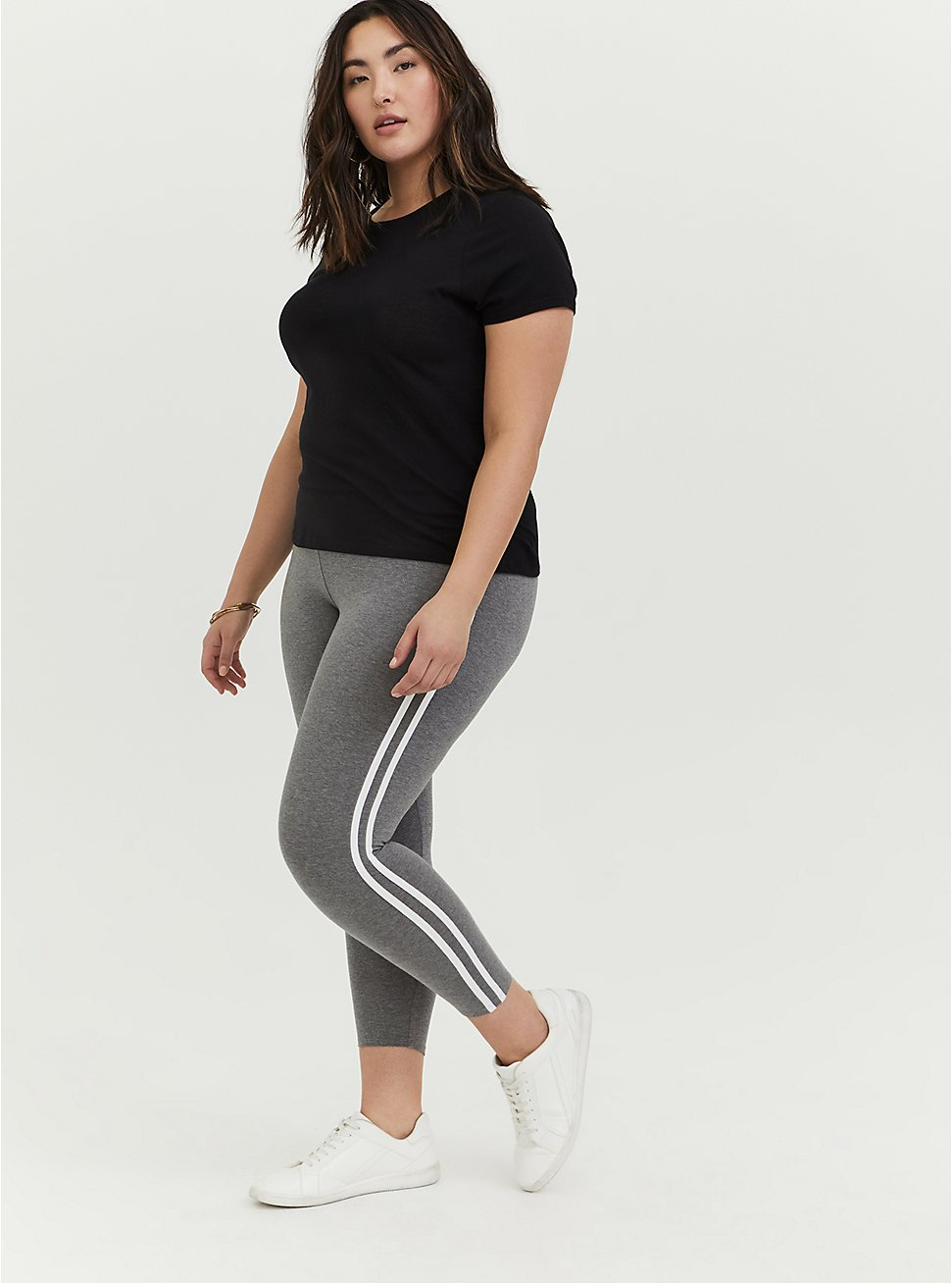 Crop Premium Legging - Side Stripe Heather Grey, DOUBLE STRIPE, hi-res
