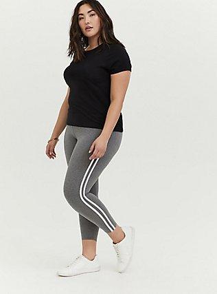 Crop Premium Legging - Side Stripe Heathered Grey, DOUBLE STRIPE, hi-res