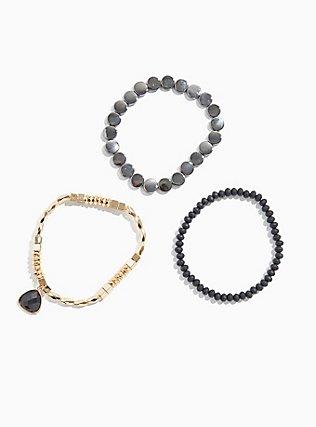 Mixed Metal Stretch Bracelet Set - Set of 3, BLACK, hi-res