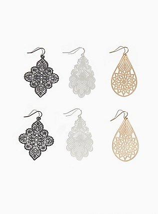 Plus Size Scalloped Filigree Dangle Earring Set - Set of 3, , hi-res