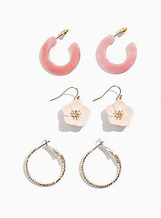 Plus Size Blush Pink Floral & Hoop Earrings Set - Set of 3, , ls