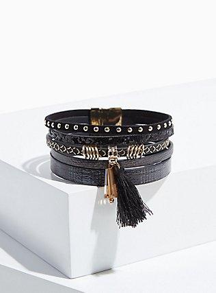 Black & Gold-Tone Tassel Magnetic Bracelet, BLACK, ls