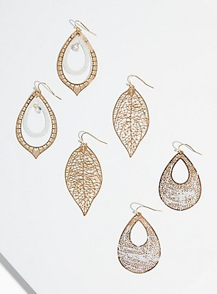Plus Size Silver & Gold-Tone Filigree Earrings - Set of 3, , hi-res