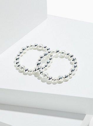 Plus Size Silver-Tone Beaded Stretch Bracelet Set - Set of 2, SILVER, hi-res