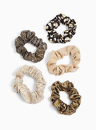 Plus Size Black & Gold Hair Tie Pack - Pack of 5, , alternate