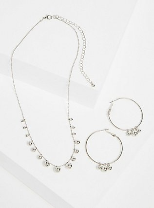 Plus Size Silver-Tone Beaded Hoop Earrings & Necklace Set, , hi-res