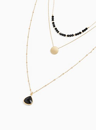 Plus Size Gold-Tone & Black Layered Necklace, , alternate