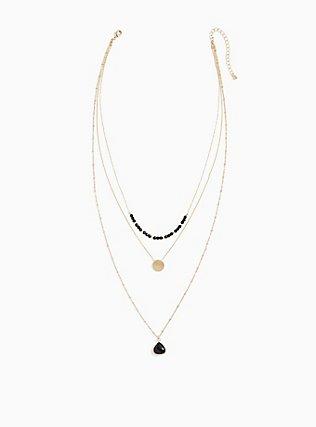 Plus Size Gold-Tone & Black Layered Necklace, , hi-res