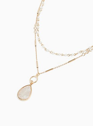 Plus Size Gold-Tone & White Teardrop Necklace Set - Set of 2, , alternate