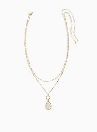 Plus Size Gold-Tone & White Teardrop Necklace Set - Set of 2, , hi-res