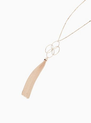 Plus Size Rose Gold-Tone Interlocking Ring Tassel Pendant Necklace, , alternate