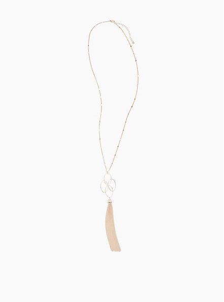Plus Size Rose Gold-Tone Interlocking Ring Tassel Pendant Necklace, , hi-res