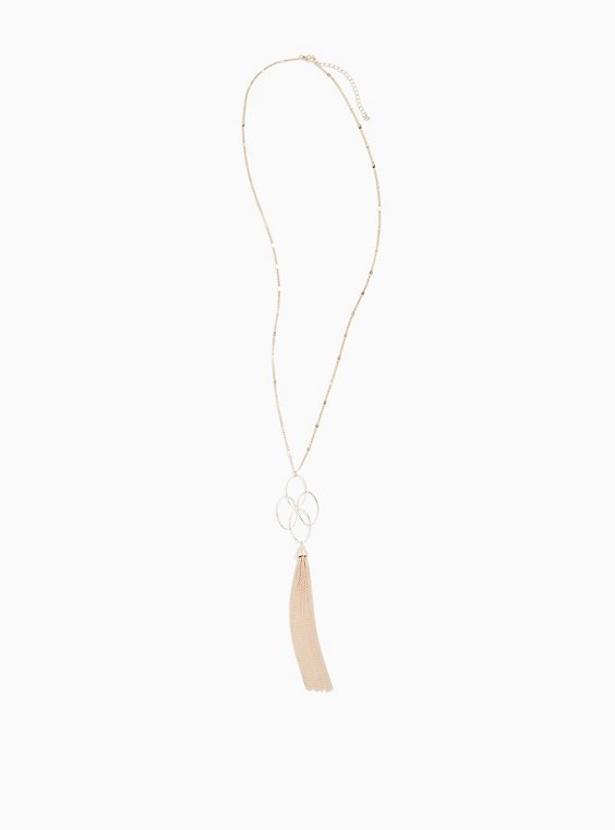 Rose Gold-Tone Interlocking Ring Tassel Pendant Necklace, , hi-res