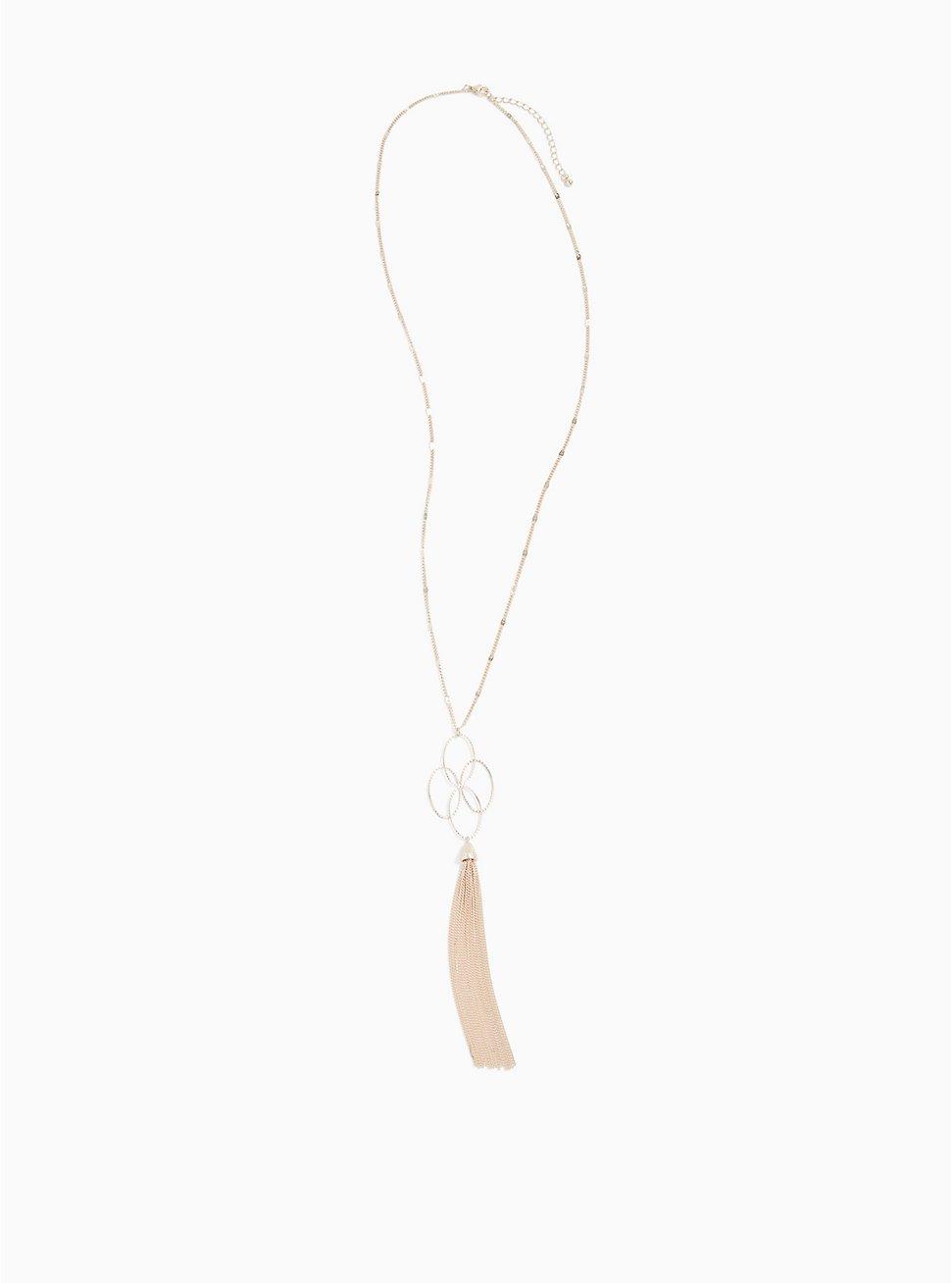 Rose Gold-Tone Interlocking Ring Tassel Pendant Necklace, , hi-res