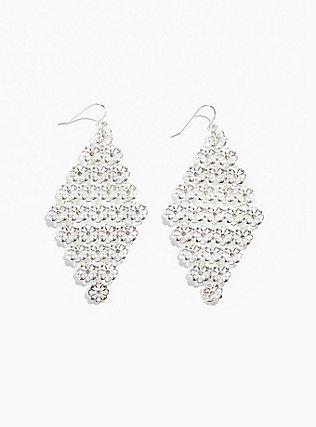 Plus Size Silver-Tone Floral Filigree Kite Dangle Earrings, , hi-res