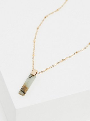 Plus Size Gold-Tone Grey Stone Pendant Delicate Necklace, , alternate