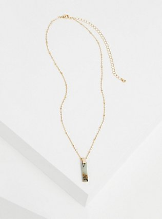 Plus Size Gold-Tone Grey Stone Pendant Delicate Necklace, , hi-res