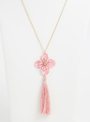 Plus Size Gold-Tone & Pink Flower Tassel Pendant Necklace , , alternate