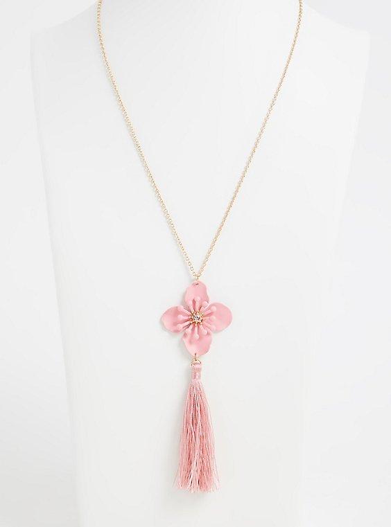 Gold-Tone & Pink Flower Tassel Pendant Necklace , , hi-res
