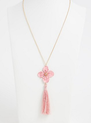 Plus Size Gold-Tone & Pink Flower Tassel Pendant Necklace , , hi-res