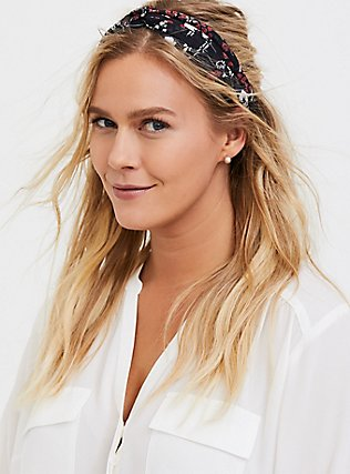 Floral Twist Front Headband Pack - Pack of 2, , alternate
