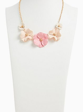 Plus Size Gold-Tone & Blush Pink Matte Floral Statement Necklace, , alternate