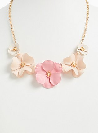 Plus Size Gold-Tone & Blush Pink Matte Floral Statement Necklace, , hi-res