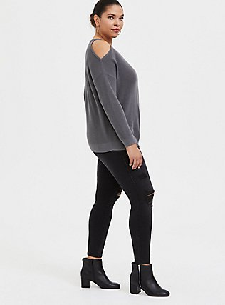 Plus Size Grey Rib Cold Shoulder Pullover Top, SMOKED PEARL, alternate