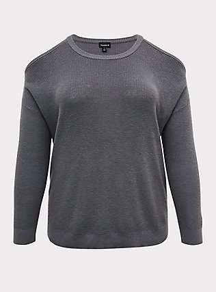 Plus Size Grey Rib Cold Shoulder Pullover Top, SMOKED PEARL, flat