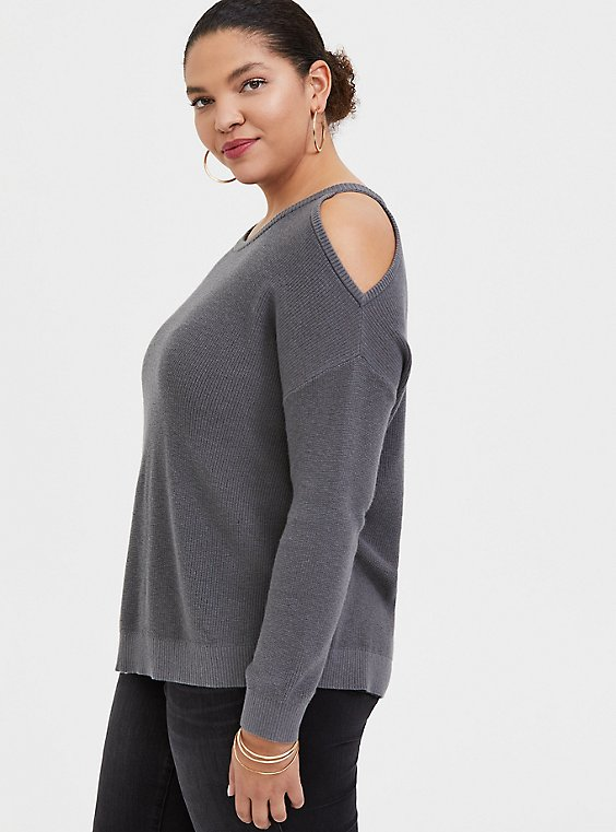 Grey Rib Cold Shoulder Pullover Top, , hi-res