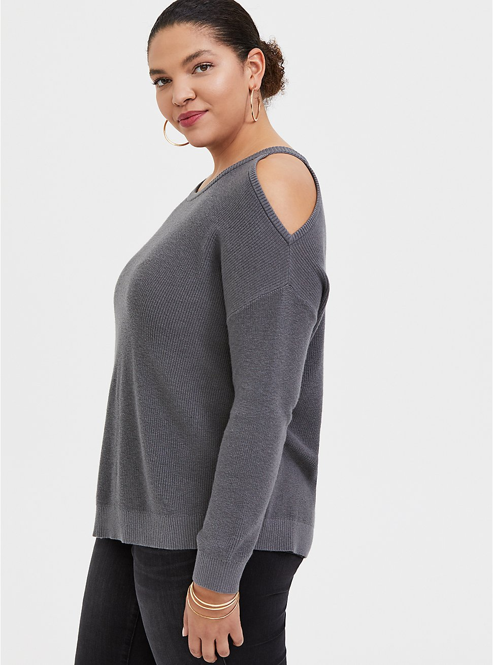 Grey Rib Cold Shoulder Pullover Top, SMOKED PEARL, hi-res