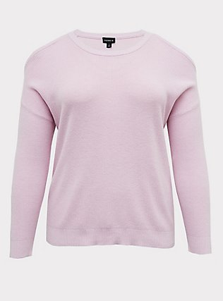 Plus Size Lilac Pink Sweater-Knit Cold Shoulder Top, LILAC SNOW, flat