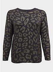 Dark Grey & Gold Foil Leopard Rib Pullover Sweater, LEOPARD, hi-res