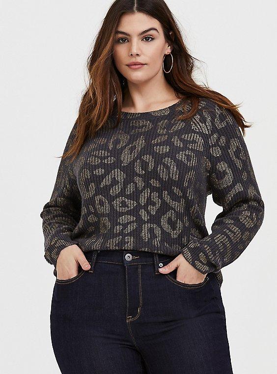 Dark Grey & Gold Foil Leopard Rib Pullover Sweater, , hi-res