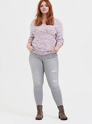 Multicolor Confetti Yarn Pullover Sweater , GRAY HEATHER  NEON YELLO, alternate