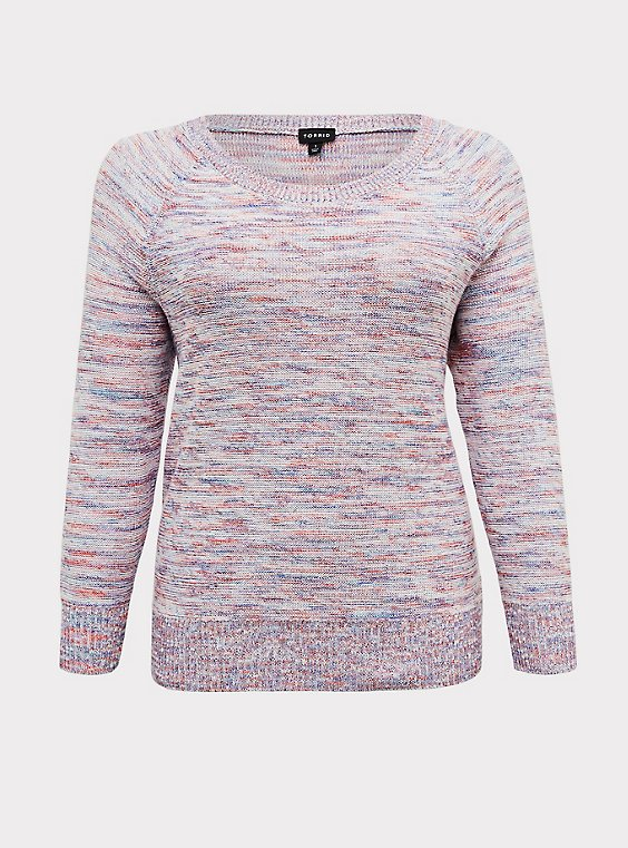 Multicolor Confetti Yarn Pullover Sweater , , flat