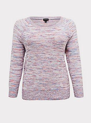 Multicolor Confetti Yarn Pullover Sweater , GRAY HEATHER  NEON YELLO, flat