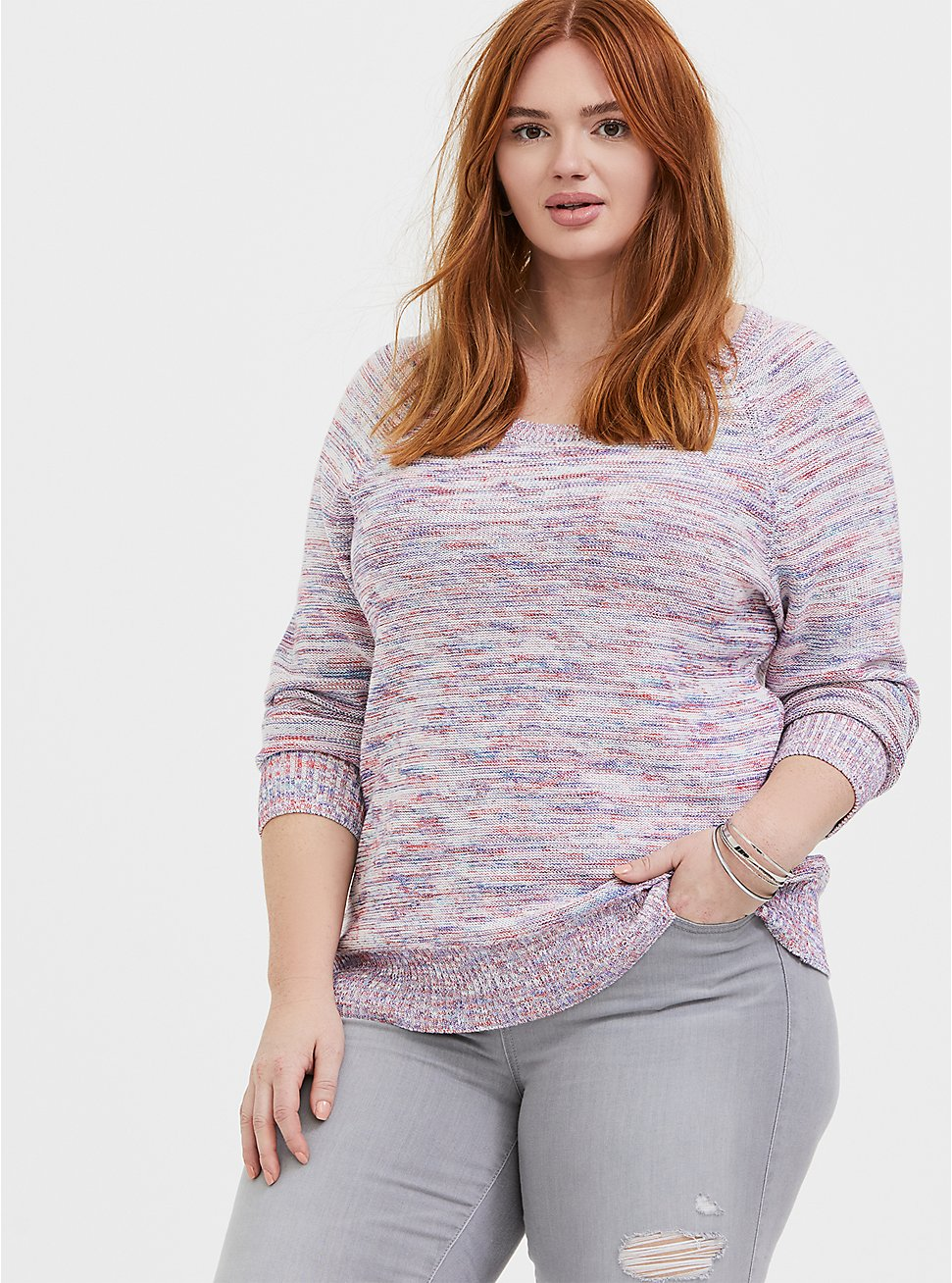 Multicolor Confetti Yarn Pullover Sweater , , hi-res