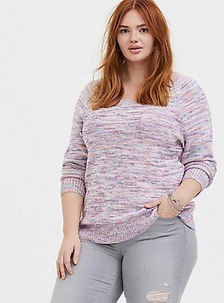 Multicolor Confetti Yarn Pullover Sweater , GRAY HEATHER  NEON YELLO, hi-res