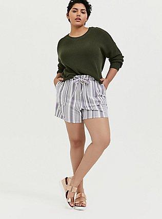 Plus Size Olive Green Rib Drop Shoulder Crop Sweater, DEEP DEPTHS, alternate