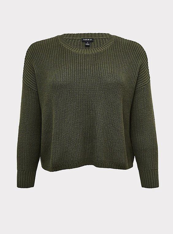 Olive Green Rib Drop Shoulder Crop Sweater, , flat