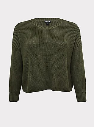 Plus Size Olive Green Rib Drop Shoulder Crop Sweater, DEEP DEPTHS, flat