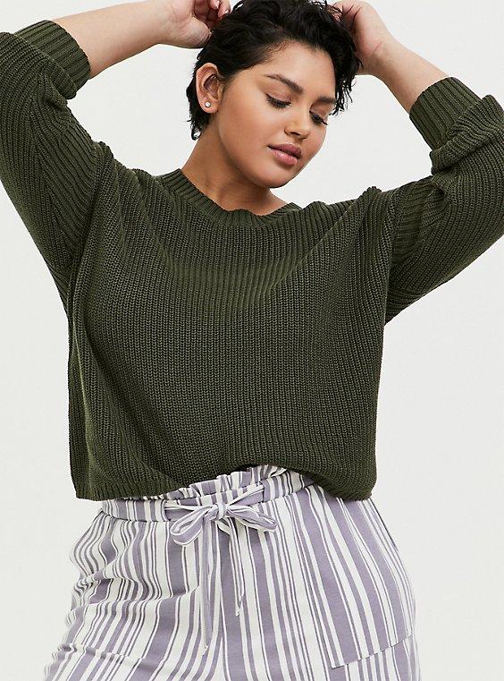 Olive Green Rib Drop Shoulder Crop Sweater, , hi-res