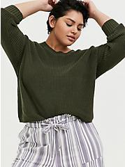 Olive Green Rib Drop Shoulder Crop Sweater, DEEP DEPTHS, hi-res