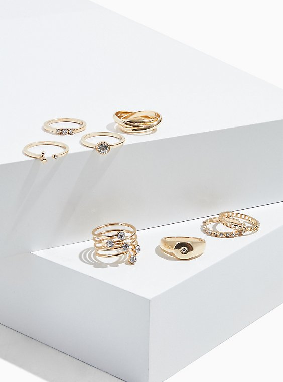 Gold-Tone Signet Ring Set - Set of 8, , hi-res