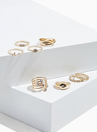 Plus Size Gold-Tone Signet Ring Set - Set of 8, , hi-res