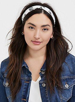 Plus Size Black & White Polka Dot Top Knot Headband Pack - Pack of 2, , alternate