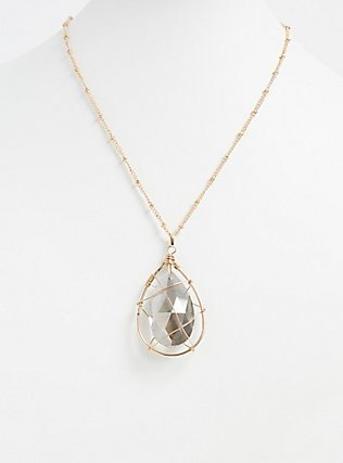 Plus Size Gold-Tone & Black Rhinestone Teardrop Caged Pendant Necklace, , alternate